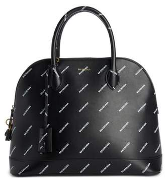 Balenciaga Allover Logo Leather Dome Satchel