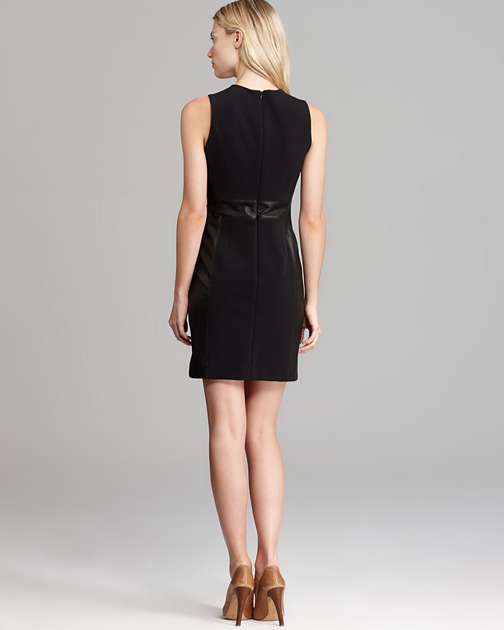 Theory Leather Combo Dress - Taline C Ford Sleeveless