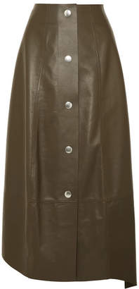 Victoria Beckham Leather Midi Skirt - Army green