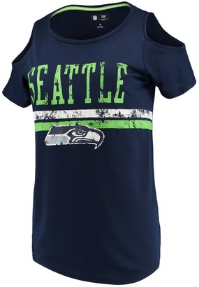 clear G Iii Women's G-III 4Her by Carl Banks College Navy Seattle Seahawks the Bases Scoopneck T-Shirt