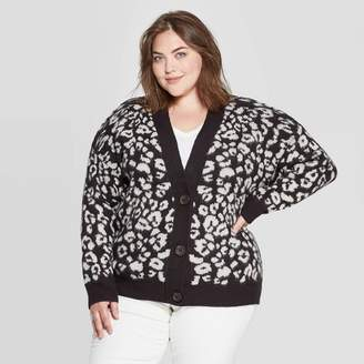 Universal Thread Women's Plus Size Leopard Print Long Sleeve V-Neck Grandpa Cardigan - Universal ThreadTM Black