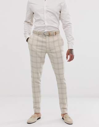 Asos Design DESIGN wedding super skinny suit pants in cream wool blend houndstooth
