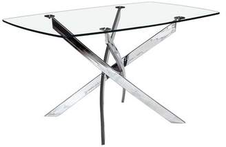 Wade Logan Coraline Glass Top Modern Dining Table