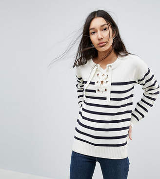 Brave Soul Tall Agatha Lace Up Sweater In Stripe