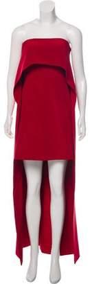 Kaufman Franco KAUFMANFRANCO Onyx Silk Strapless Maxi Cape Dress