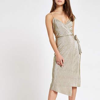River Island Petite gold plisse wrap midi dress