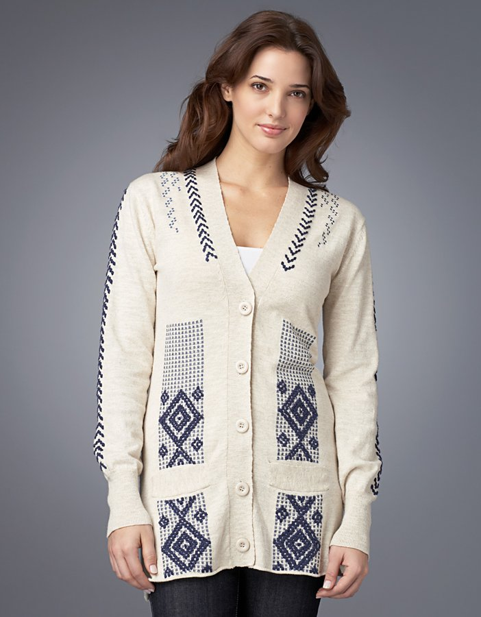 Twelfth Street by cynthia vincent Embroidered V-Neck Cardigan
