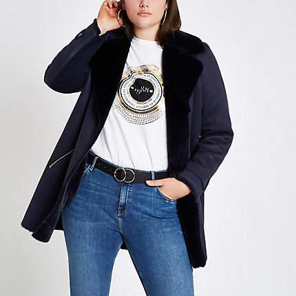 Womens Plus Navy faux fur lined fallaway jacket