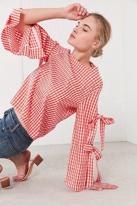 Style Mafia Gingham Tie Sleeve Shirt $129 thestylecure.com