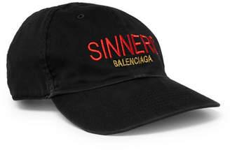 Balenciaga Sinners Embroidered Cotton-Twill Baseball Cap - Men - Black