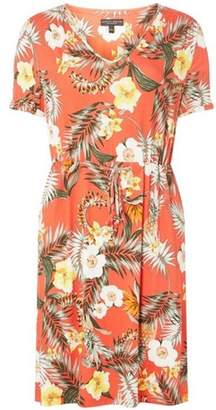 Dorothy Perkins Womens Blush Tropical Print T-Shirt Dress