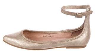 Joie Metallic Leather Ankle-strap Ballet Flats