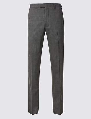 Marks and Spencer Grey Textured Tailored Fit Trousers