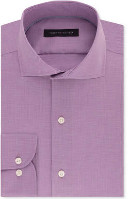 Tommy Hilfiger Men's Classic/Regular Fit Non-Iron Performance Stretch Purple Puppytooth Dress Shirt, Created for Macy's