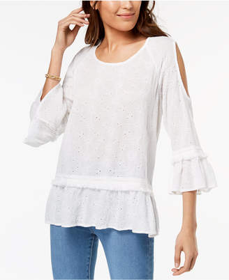 Style&Co. Style & Co Petite Eyelet-Embroidered Cold-Shoulder Top, Created for Macy's