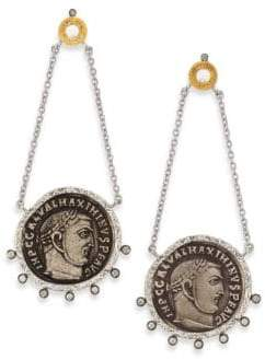 Coomi Silver Coin Diamond, Crystal, 20K Yellow Gold& Sterling Silver Drop Earrings