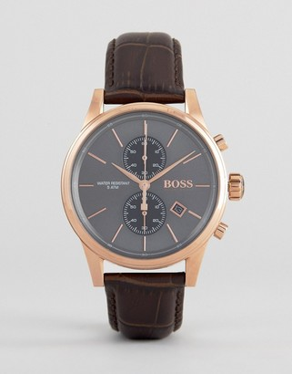 Boss By 1513281 Jet Chronograph Leather Watch In Brown