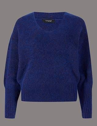 Marks and Spencer Wool Blend Textured V-Neck Jumper