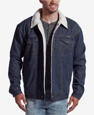 Wrangler Men's Western Jean Jacket with Faux-Sherpa Lining