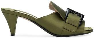 No.21 open toe buckled mules