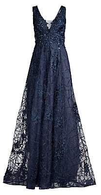 Basix Black Label Women's Sheer Lace Embroidered Tulle Gown