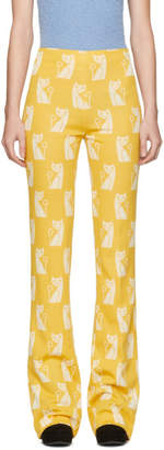 Miu Miu Yellow Intarsia Cat Trousers