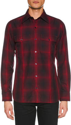 Tom Ford Men's Shaded Check Sport Shirt