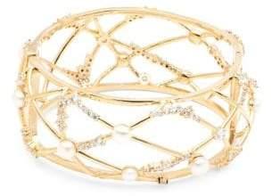 Carolee Starstruck Pearl Crystal Caged Bangle Bracelet