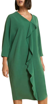 Marina Rinaldi Debutto V-Neck 3/4-Sleeve Frill Dress, Plus Size