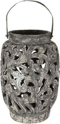 Casa Uno Tall Ornate Candle Holder, Raw Black