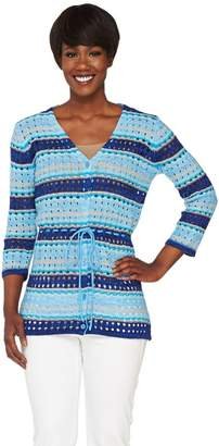 Liz Claiborne New York Striped Pointelle Cardigan