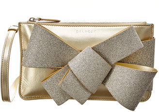 DELPOZO Mini Bow Glitter & Metallic Leather Clutch Crossbody