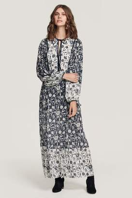 Beulah London Tarala Blue Floral Boho Day Dress
