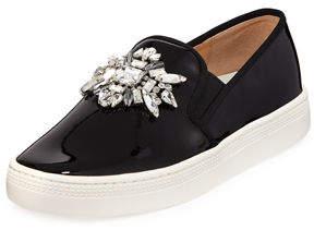 Badgley Mischka Barre Jeweled Patent Slip-On Sneakers