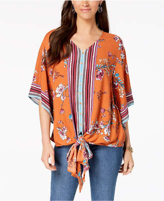 Style&Co. Style & Co Printed Tie-Front Shirt