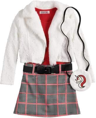 Knitworks Girls 4-6x Ribbed Plaid Dress, Textured Motorcycle Jacket & Unicorn Shrug Set