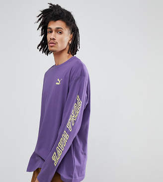 Puma long sleeve t-shirt with sleeve print in purple Exclusive at ASOS