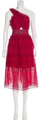 Self-Portrait One-Shoulder Midi Dress