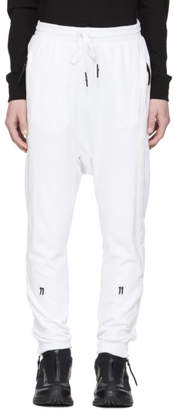 11 By Boris Bidjan Saberi White Logo Tape Lounge Pants