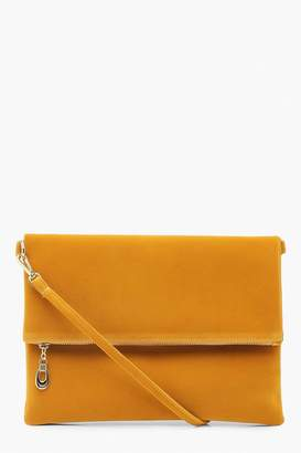 boohoo Suedette Foldover Clutch With Strap