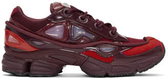 Raf Simons Red and Burgundy adidas Originals Edition Ozweego III Sneakers