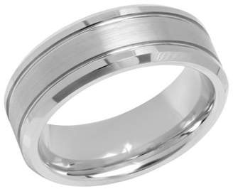 Steel Nation Jewelry Men's 8MM Tungsten Double Grooved Wedding Band - Mens Ring