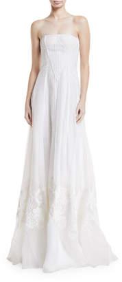 Ralph Lauren Tamia Strapless Embroidered Silk Gown