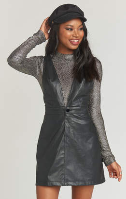 Show Me Your Mumu Baxter Overall Dress ~ Black Faux Leather