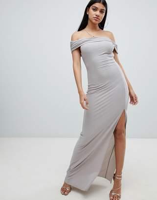 AX Paris bardot maxi dress with side split