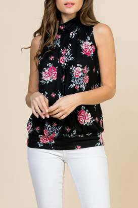 08f15c9efe8b8 Riah Fashion Floral-Print-Mock-Neck Pleated-Sleeveless-Top