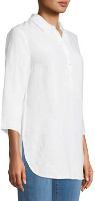 Three Dots Half-Button Linen Tunic