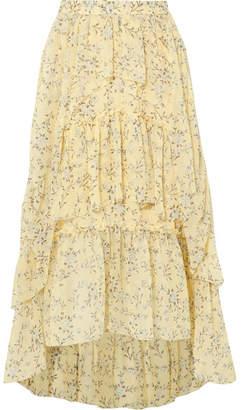 Ulla Johnson Marilyn Asymmetric Ruffled Floral-print Silk-georgette Skirt