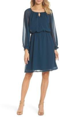 Adrianna Papell Bishop Sleeve Blouson Dress