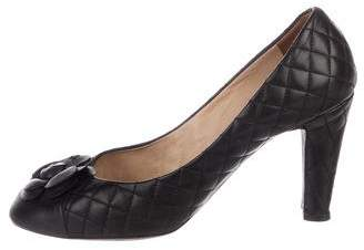 Chanel Quilted Camellia High-Heel Pumps
